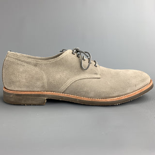 PAUL SMITH Size 12 Light Grey Suede Lace Up Shoes