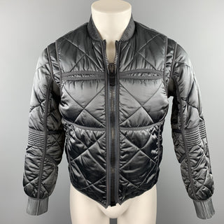 CALVIN KLEIN COLLECTION Size 38 Slate Quilted Polyamide Blend Jacket