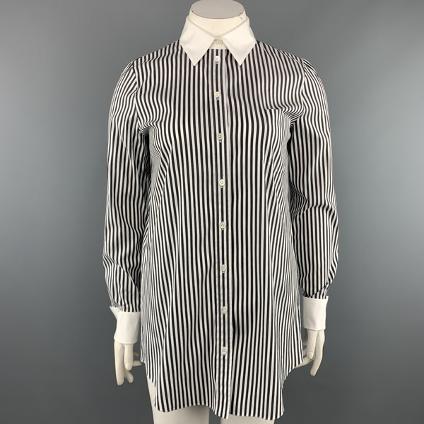 MICHAEL KORS Size 12 Black & White Striped Cotton Blend French Cuff Blouse