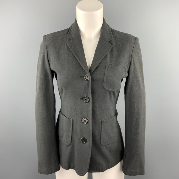 GIANFRANCO FERRE Size 6 Slate Notch Lapel Blazer