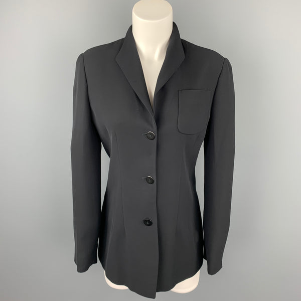 GIORGIO ARMANI Size 6 Black Silk Collarless Buttoned Jacket
