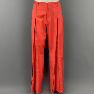 VERSUS by GIANNI VERSACE Size 32 Orange Wool Wide Leg Dress Pants