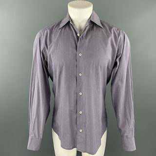 MALO Size M Lavender Print Cotton Button Up Long Sleeve Shirt
