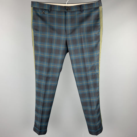 PS by PAUL SMITH Size 36 Teal & Olive Plaid Wool Zip Fly Dress Pants