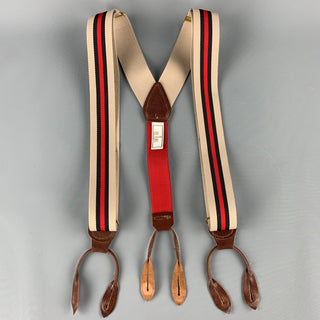 BILL BLASS Stripe Taupe & Red Leather Trim Elastic Suspenders