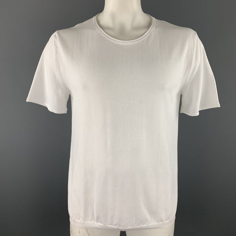 ELEVENTY Size XL White Knitted Cotton Crew-Neck T-shirt