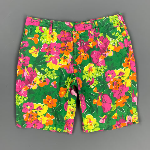 POLO by RALPH LAUREN Size 30 Green & Pink Floral Cotton Zip Fly Shorts