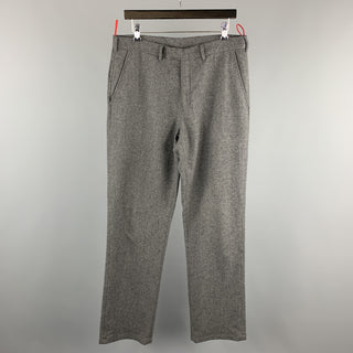 PRADA Size 34 Gray Solid Wool Blend Zip Casual Pants