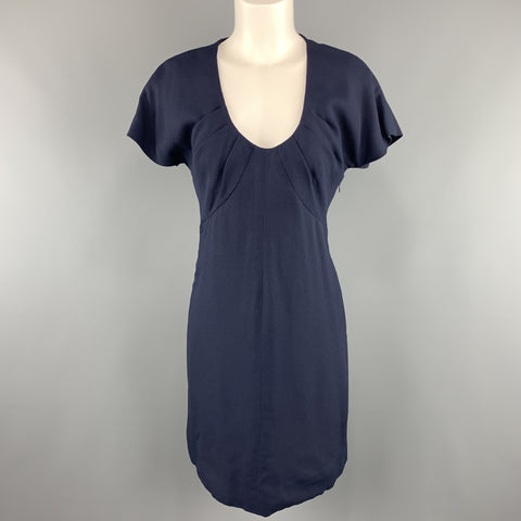 Vintage GIVENCHY Size 6 Navy Crepe Gathered Scoop Neck Cocktail Dress