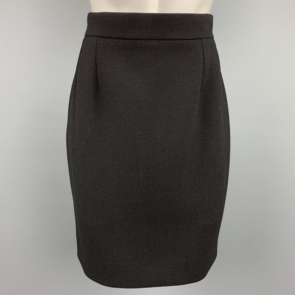 CHANEL Size 10 Black Crepe Wool Pencil Skirt
