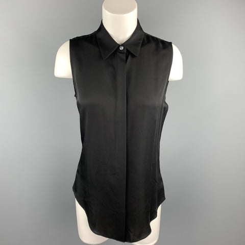 THEORY Size S Black Silk Sleeveless Casual Button Up Top