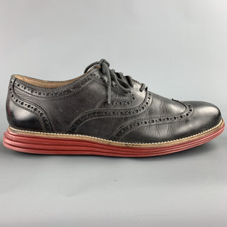 COLE HAAN Size 9.5 Charcoal Perforated Leather Wingtip Lace Up Shoes