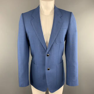 YVES SAINT LAURENT Size 36 Blue Mohair Notch Lapel Patch Pocket Sport Coat