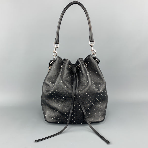 SAINT LAURENT Studded Black Leather Emmanuelle Bucket Bag
