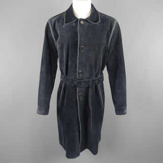 SALVATORE FERRAGAMO 40 Navy Suede Whipstitched Trench Coat