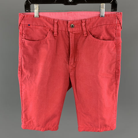 45rpm Red Solid Cotton Zip Fly Size 30 Shorts