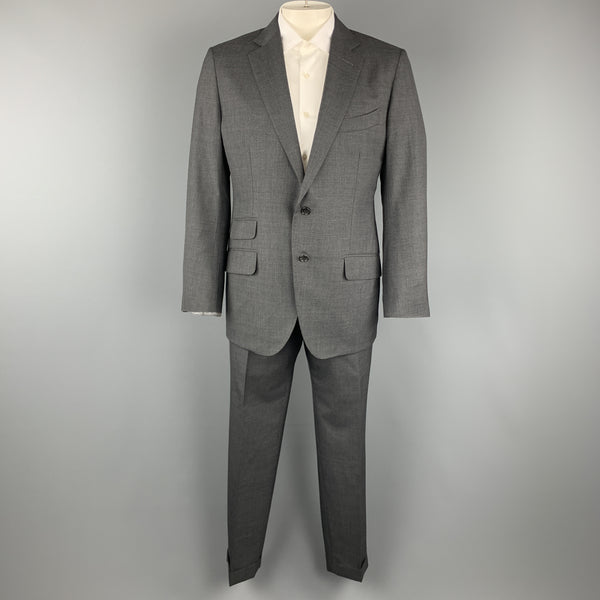 TOM FORD Size 44 Dark Gray Wool Notch Lapel Cuffed Leg Suit