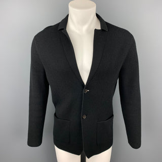 NEIMAN MARCUS Size M Black Knitted Cashmere Blend Notch Lapel Cardigan