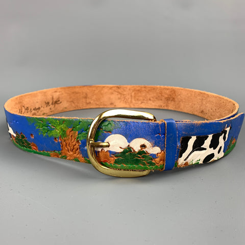 DIANE WEISS NYC Size 32 Blue & Green Hand Painted Leather Belt