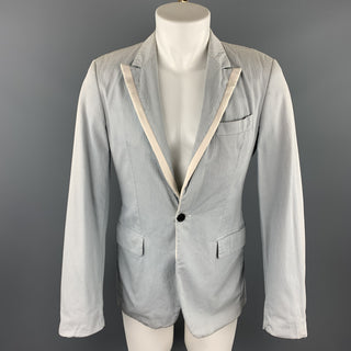DIRK SCHONBERGER Size 36 Gray Cotton Peak Lapel Sport Coat