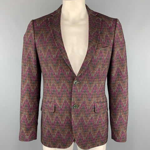 ETRO Chest Size 42 Print Multi-Color Wool Blend Notch Lapel Sport Coat