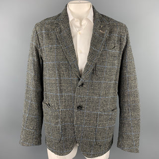 45rpm Size L Grey Glenplaid Cotton Notch Lapel Sport Coat