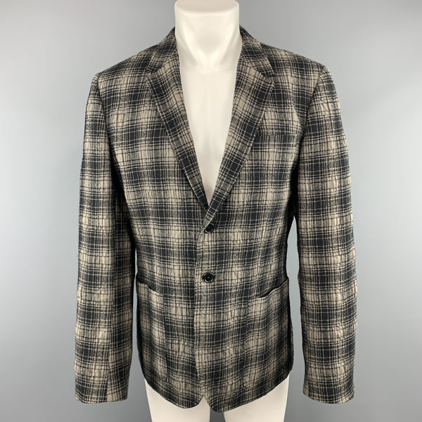 PS by PAUL SMITH Chest Size 40 Plaid Black & Grey Wool / Cotton Sport Coat
