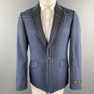 VIVIENNE WESTWOOD MAN Size 40 Navy Plaid Wool Blend Notch Lapel Sport Coat