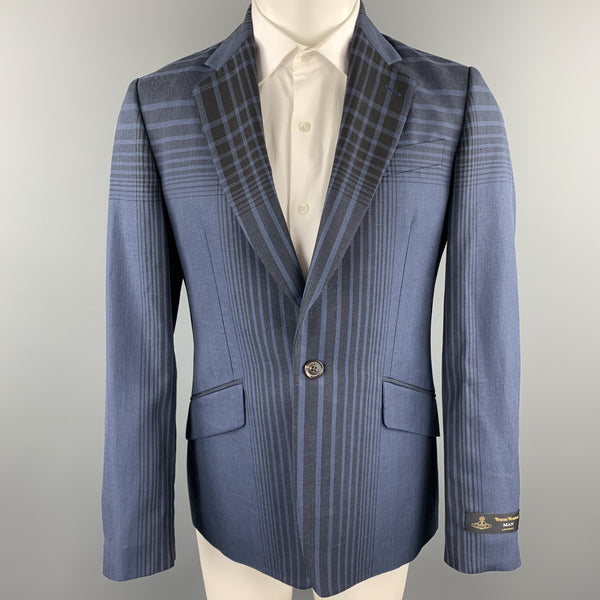 VIVIENNE WESTWOOD MAN James Size 40 Navy Plaid Wool Blend Notch Lapel Sport Coat