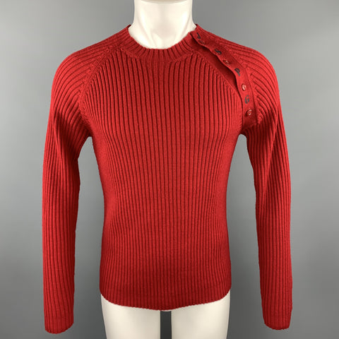 GAULTIER JEANS Size L Red Ribbed Knit Wool JSPG Button Sleeve Pullover