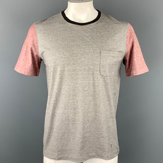 LOUIS VUITTON Size L Gray Color Block Cotton Crew-Neck T-shirt