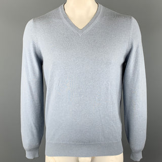 BRUNELLO CUCINELLI Size L Powder Blue Solid Cashmere V-Neck Pullover Sweater