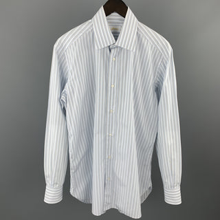 BRIONI Size M Light Blue Stripe Cotton Button Up Long Sleeve Shirt