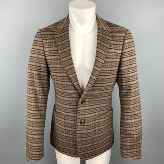 PRADA Size 38 Brown Plaid Lana Wool / Alpaca Notch Lapel Sport Coat