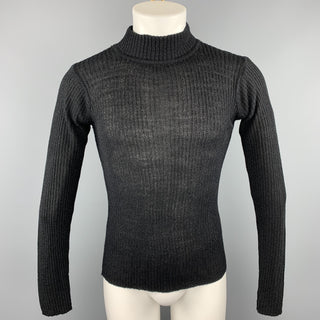 Vintage MATSUDA Size M Black Ribbed Knit Mock Turtleneck Pullover