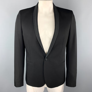 THE KOOPLES Size 40 Black Wool Shawl Collar Single Button Sport Coat