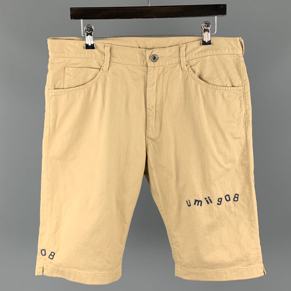 45rpm Size 34 Khaki Cotton Zip Fly Solid Shorts