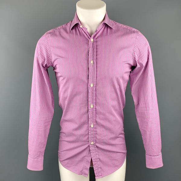 RALPH LAUREN Black Label Size XS Purple Stripe Cotton Button Up Long Sleeve Shirt