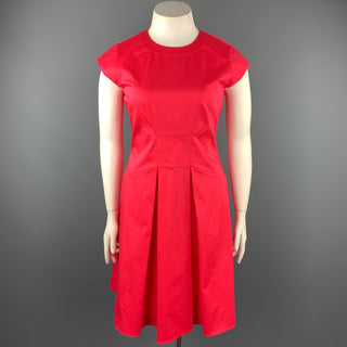 KATE SPADE Size 12 Coral Pleated Cotton Sheath Dress