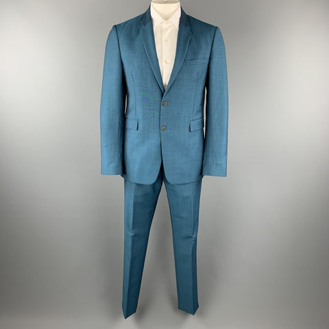 BURBERRY LONDON Size 42 Teal Sharkskin Wool / Mohair Notch Lapel Pants Suit