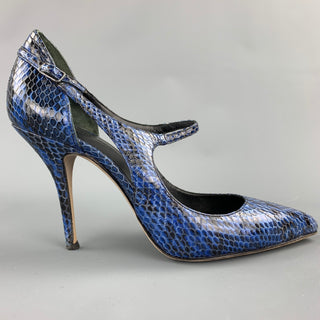 ALEXANDER WANG Inka Size 8.5 Blue & Black Embossed Leather Pumps