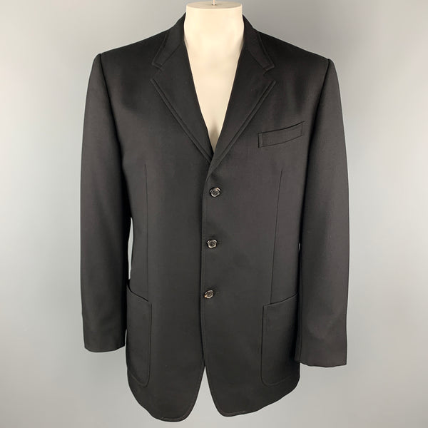 PRADA Size 46 Black Virgin Wool Notch Lapel Patch Pockets Coat