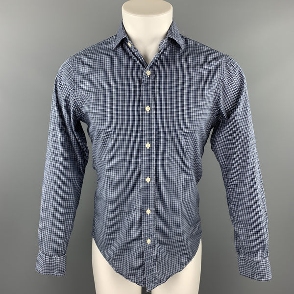 POLO by RALPH LAUREN Size S Navy Plaid Cotton Button Up Long Sleeve Shirt