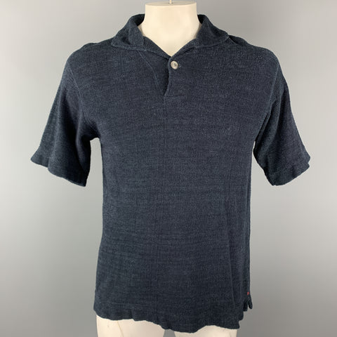 45rpm Size M Navy Textured Terry Cloth Knit Single Button Polo