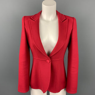 GIORGIO ARMANI Size 2 Red Virgin Wool Peak Lapel Single Breasted Jacket