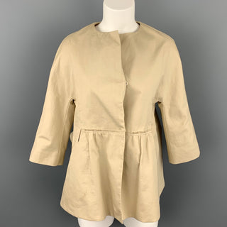 MARNI Size 4 Beige Cotton Ruched Waist Jacket