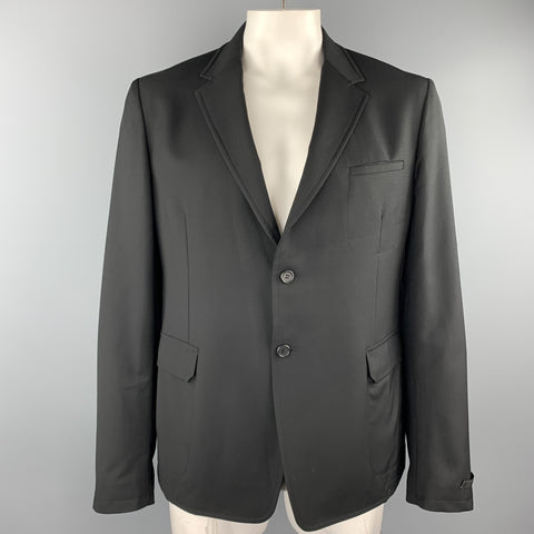 PRADA Size 46 Black Woven Wool Notch Lapel Sport Coat