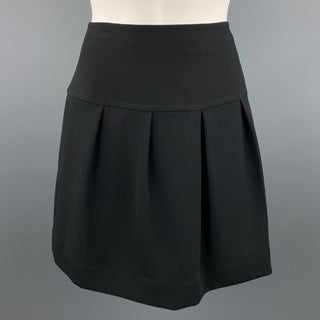 ST. JOHN Size 2 Black Pleated Mini Skirt