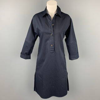 SOFIE D'HOORE Size 4 Navy Cotton Shirt Dress
