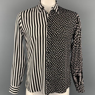 GIVENCHY F/W 19 Size M Black & White Mixed Print Viscose Button Up Long Sleeve Shirt